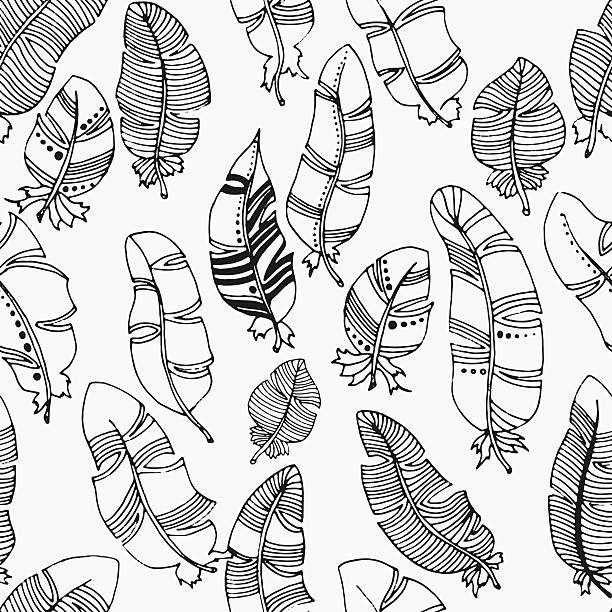Vector seamless pattern of feathers on a white background Vector seamless pattern of feathers on a white background. Vintage, tribal, artistically drawn, stylized, feathers bristle animal part stock illustrations