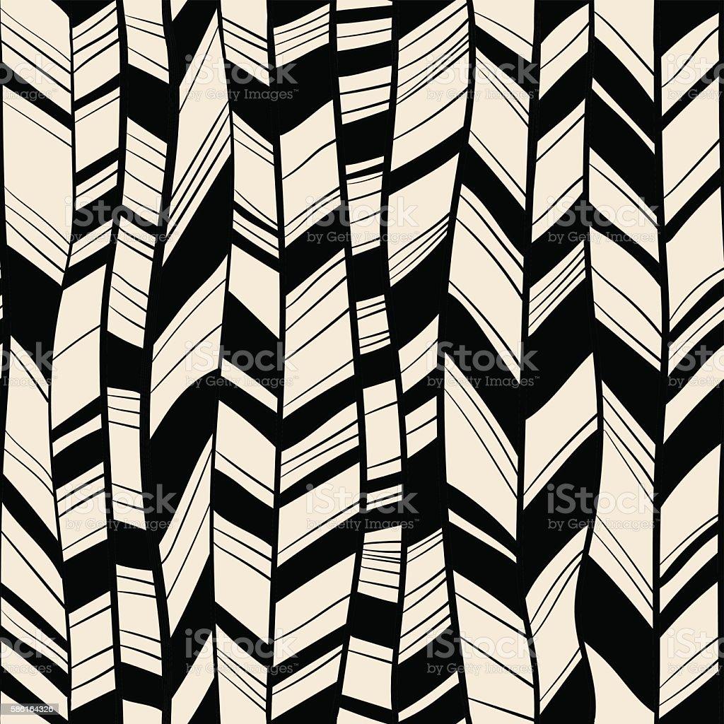 Vector Seamless pattern of feathers vector art illustration