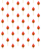 Vector seamless pattern of flat cartoon burning match isolated on white background