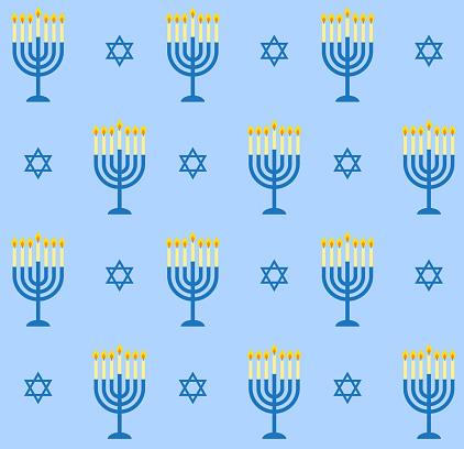 Vector seamless pattern of flat cartoon Hanukah candles and jewish stars
