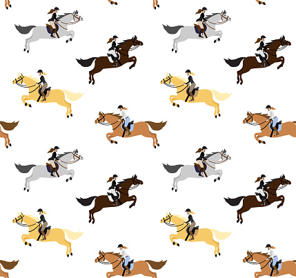 Vector seamless pattern of flat cartoon woman riding show jumping horse