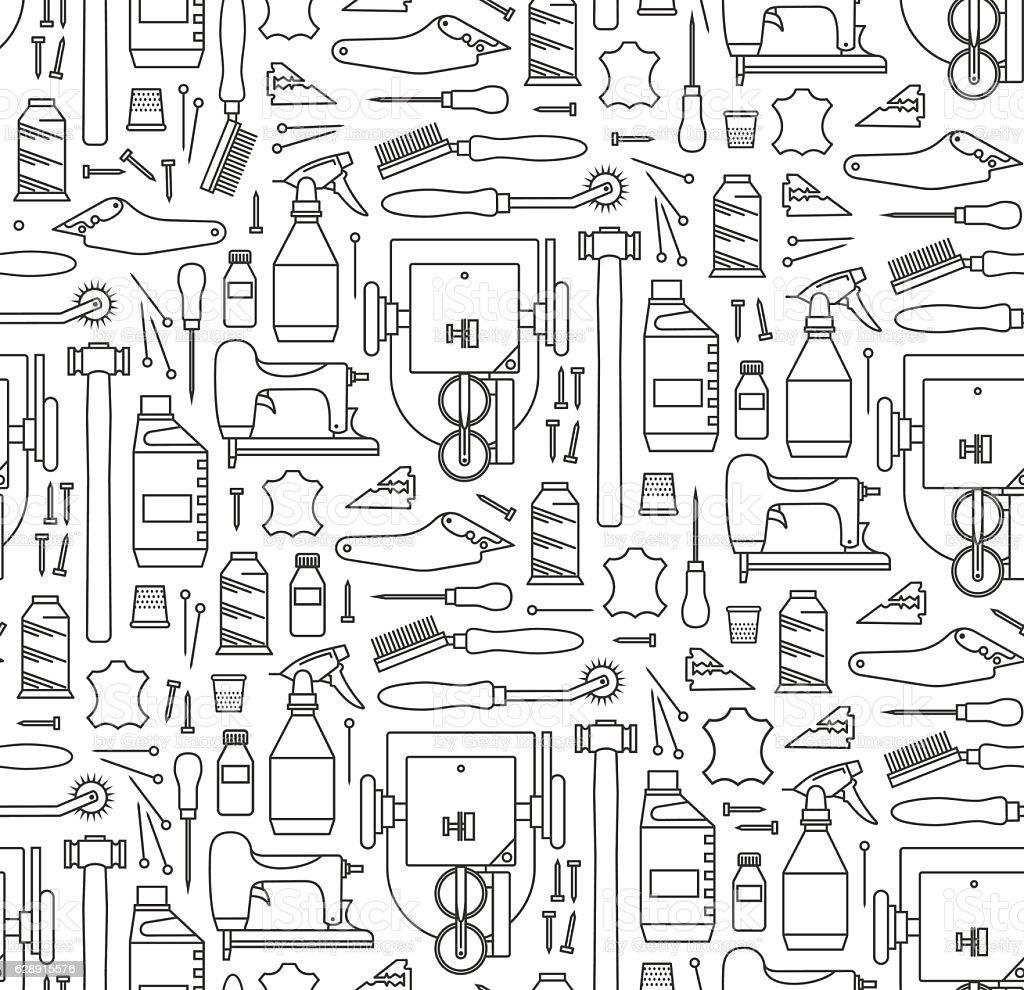 Vector seamless pattern of furrier's tools. Print on white backg vector art illustration