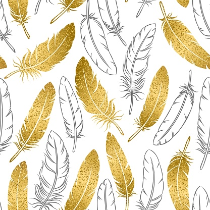 Vector seamless pattern of golden and hand-drawn outline bird feathers on a white background