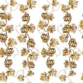 Vector seamless pattern of golden grape branch. Wineyard retro wallpaper. Garden background of Grape vine on white.