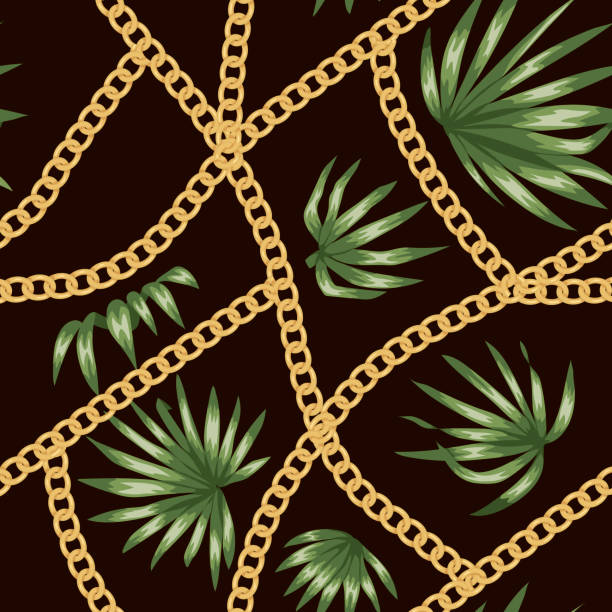 vector seamless pattern of green tropical palm leaves with golden chain on black background. summer or spring repeat tropic backdrop. exotic fashion ornament. - spring fashion stock illustrations, clip art, cartoons, & icons