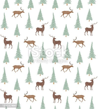 istock Vector seamless pattern of hand drawn doodle sketch colored forest deer and spruce tree 1310329667
