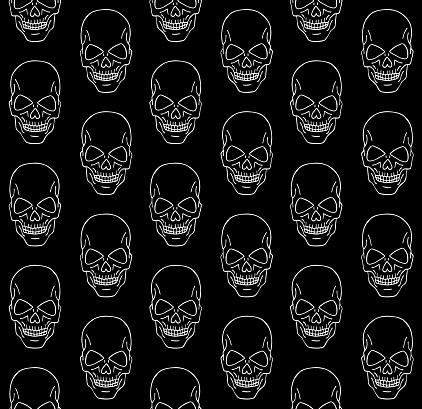 Patrón vectorial sin fisuras de garabato dibujado a mano boceto cráneo humano