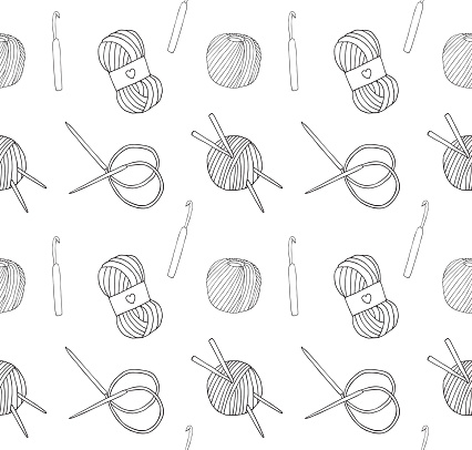 Vector seamless pattern of hand drawn doodle sketch set bundle of knitting accessories threads and needles
