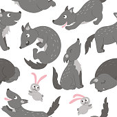 Vector seamless pattern of hand drawn flat funny wolves in different poses. Cute repeat background with woodland animals. Cute animalistic ornament for children's design.