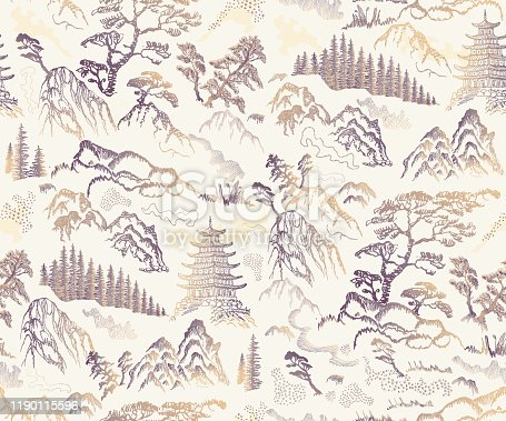 Vector seamless pattern of hand drawn sketches in Japanese and Chinese nature ink illustration sumi-e tradition. Textured fir pine tree, pagoda temple, mountain, river, pond, rock on a beige background