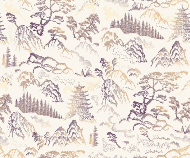 illustrazioni stock, clip art, cartoni animati e icone di tendenza di vector seamless pattern of hand drawn sketches in japanese and chinese nature ink illustration sumi-e tradition. textured fir pine tree, pagoda temple, mountain, river, pond, rock on a beige background - toile de jouy