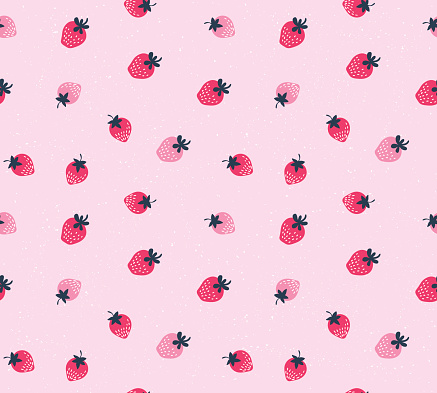 Vector seamless pattern of hand drawn strawberries.