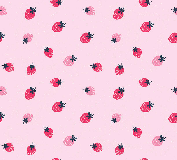 Vector seamless pattern of hand drawn strawberries. vector art illustration