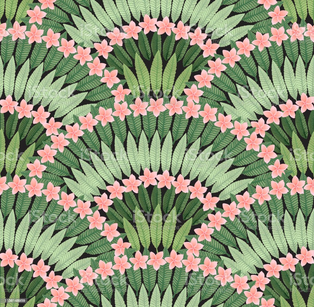 Vector Seamless Pattern Of Hand Drawn Tropical Pink Plumeria Flowers