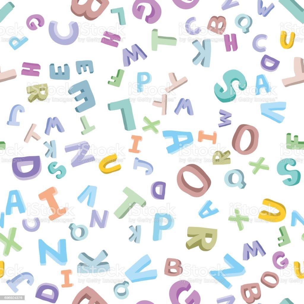 Vector seamless pattern of handdrawn childrens alphabet 3d doodle vector seamless pattern of hand drawn childrens alphabet 3d doodle letters abc font altavistaventures Gallery