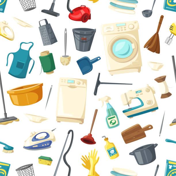 nahtlose vektormuster von wohnungsreinigung elemente - waschküchendekorationen stock-grafiken, -clipart, -cartoons und -symbole
