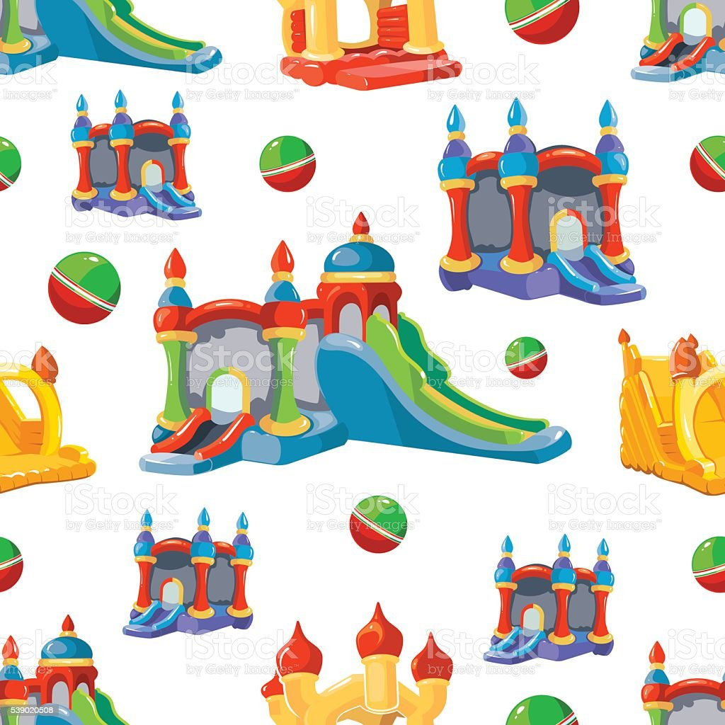 Vector seamless pattern of inflatable castles and children hills vector art illustration