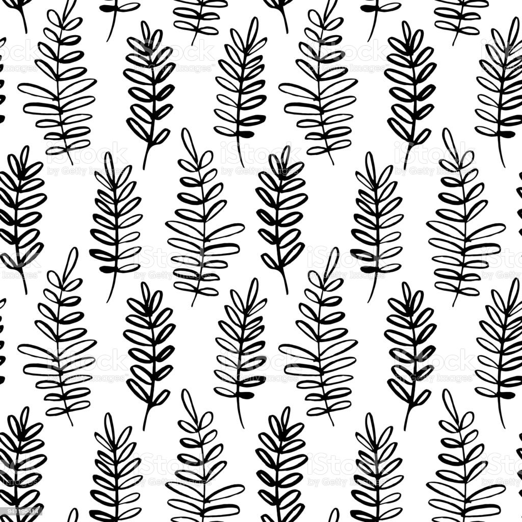 vector seamless pattern of ink drawing wild plants herbs monochrome Fern Parts Label vector seamless pattern of ink drawing wild plants herbs monochrome botanical illustration floral elements hand drawn repeatable background