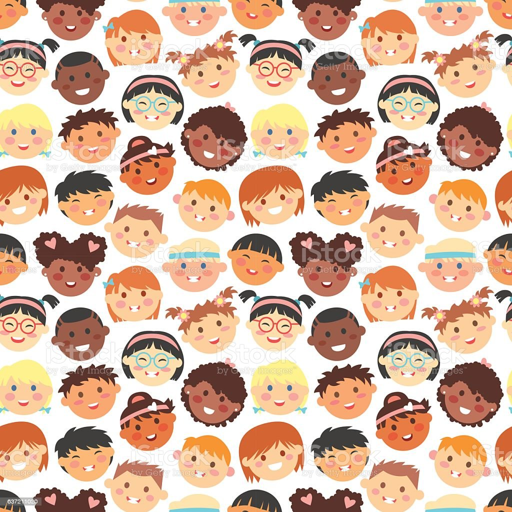 Vector seamless pattern of kids faces different races. vector art illustration