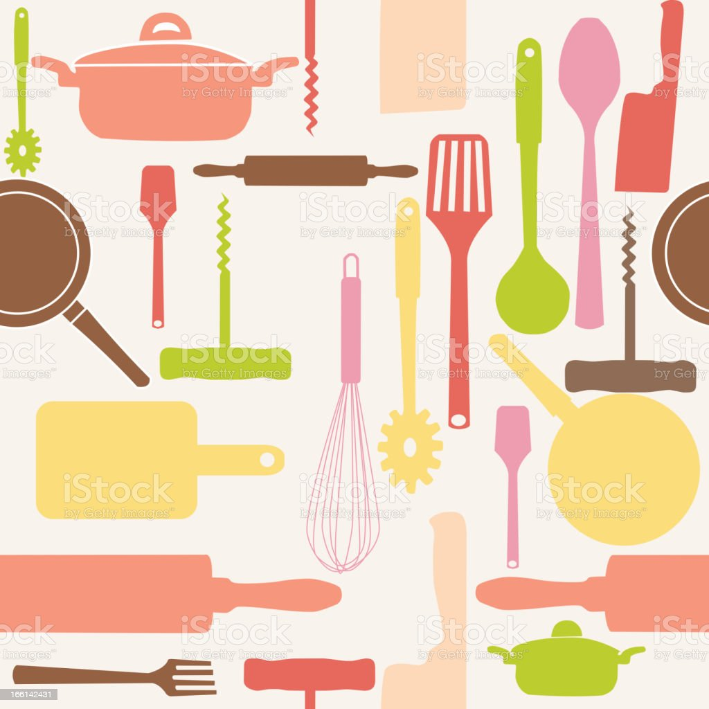 Vector seamless pattern of kitchen tools. royalty-free stock vector art