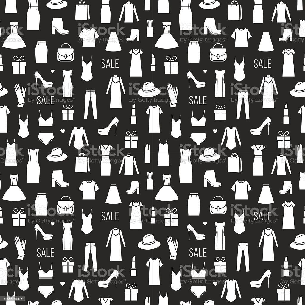 Vector seamless pattern of  ladieswear and accessories – Vektorgrafik