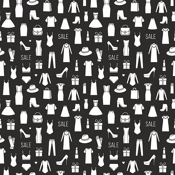 vector seamless pattern of  ladieswear and accessories - damenmode stock-grafiken, -clipart, -cartoons und -symbole