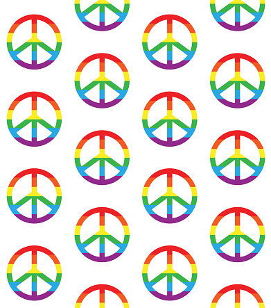 Vector seamless pattern of lgbt rainbow peace sign