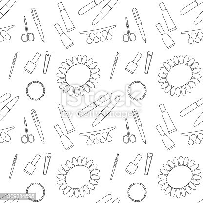 Vector seamless pattern of manicure and pedicure tools on a white background