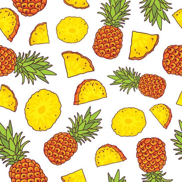 Vector seamless pattern of pineapples vector art illustration