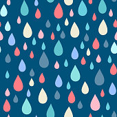 Colourful raindrops on dark blue background. Boundless background can be used for web page backgrounds, wallpapers, wrapping papers and invitations.