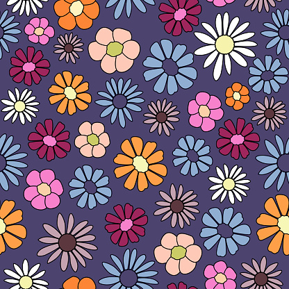 vector seamless pattern of retro flowers in vintage style