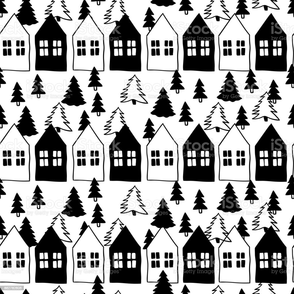 vector seamless pattern of scandinavian houses and christmas tree black white doodle nordic. Black Bedroom Furniture Sets. Home Design Ideas