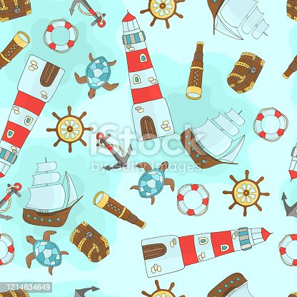 Vector seamless pattern of sea themes with a ship, lighthouse, steering wheel, sea turtle, anchor, treasure chest, lifebuoy, telescope on a blue background, for design of covers, books, packaging, print on wallpaper, textiles