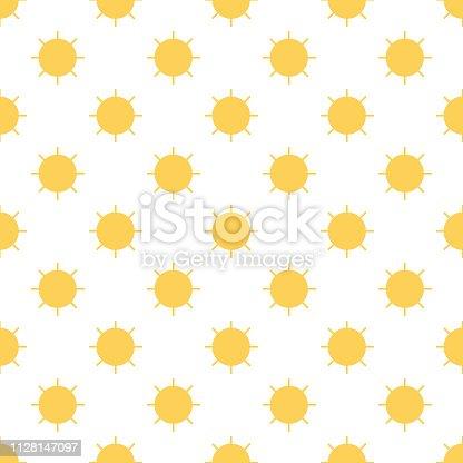 Vector seamless pattern of simple sun. Seamless pattern.