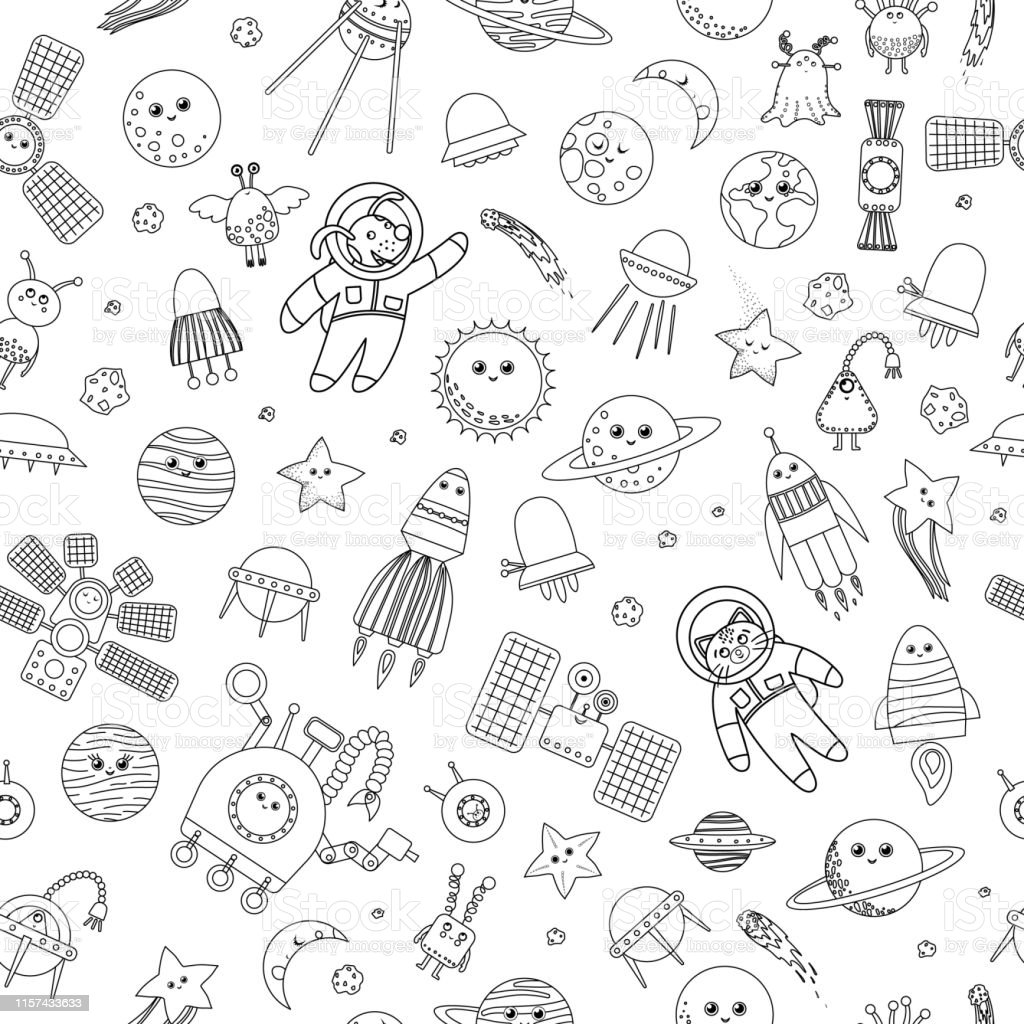 Seamless pattern of alien with ufo and planet in space ...  Space Repeating Background Patterns