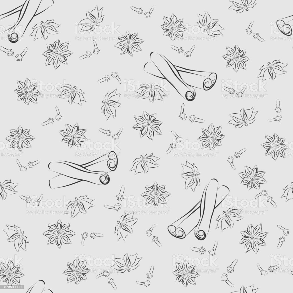 Vector seamless pattern of spices. vector art illustration