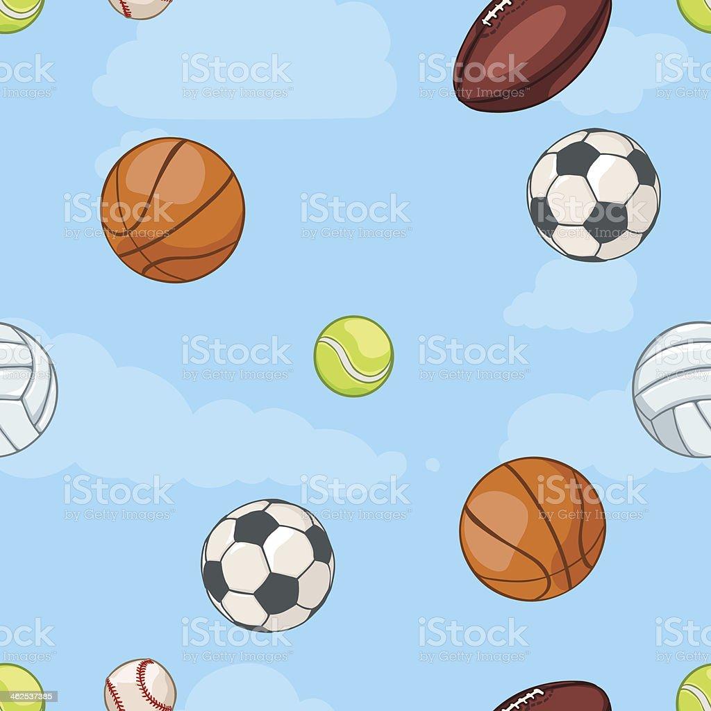 Vettore Seamless Pattern Di Sport Palloni Su Sfondo Di Cielo