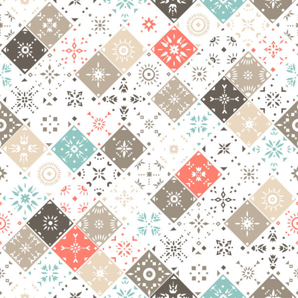 Vector seamless pattern of square mosaic tiles with patterns. Vector seamless pattern of square mosaic tiles with patterns. Red, blue, brown, beige palette. shabby chic stock illustrations