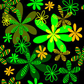 Vector seamless pattern of stylized flowers on a dark background.