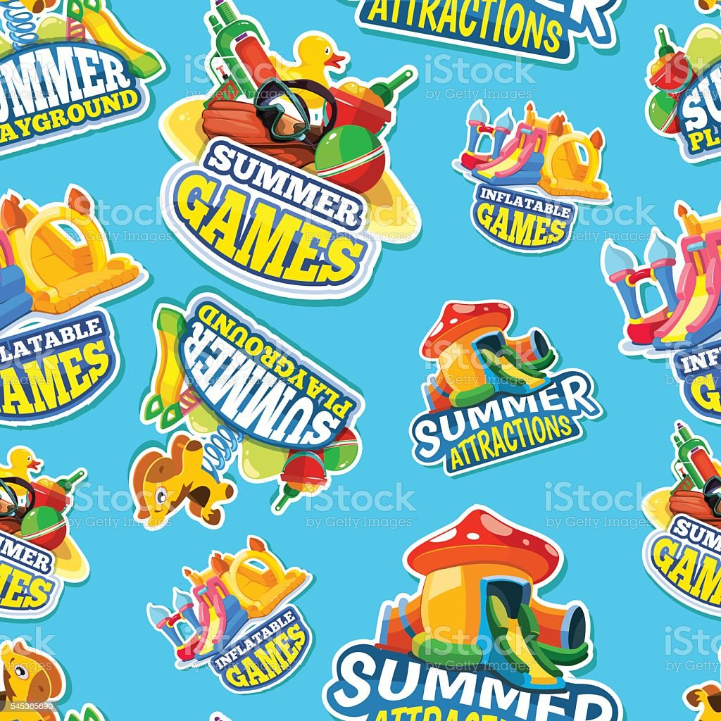 Vector seamless pattern of summer games on inflatable playground vector art illustration
