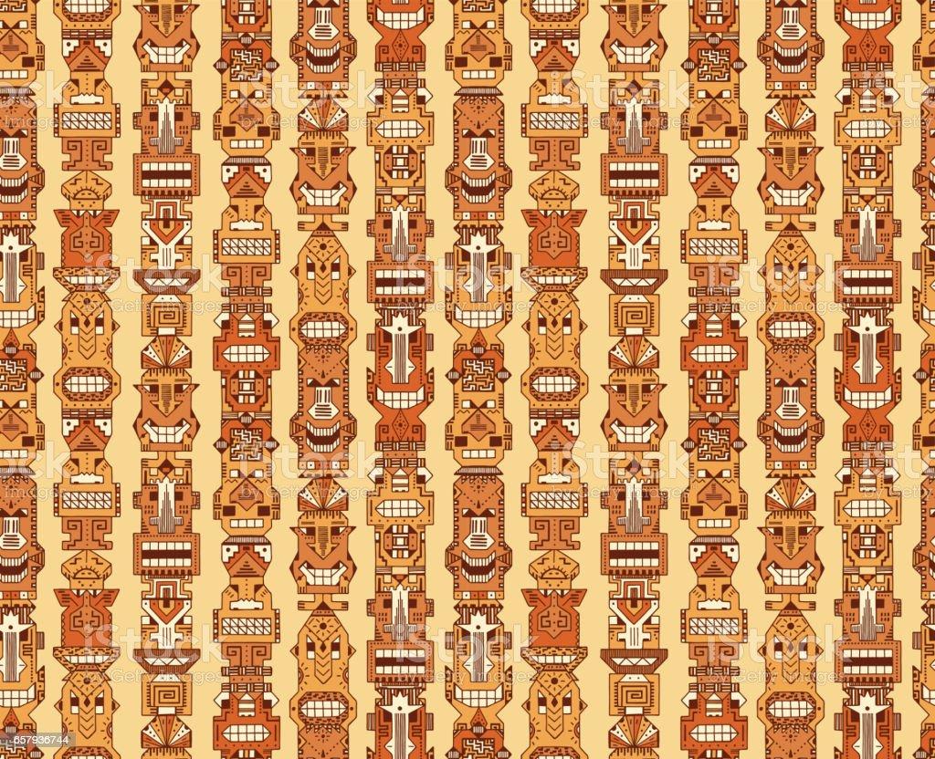 vector seamless pattern of tribal polynesian tiki masks hand drawn