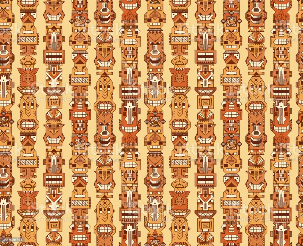 Vector Seamless pattern of Tribal Polynesian Tiki Masks. Hand Drawn Doodle Hawaiian Totem Idol Carved Religious Masks statue. Ethnic symbols background vector art illustration