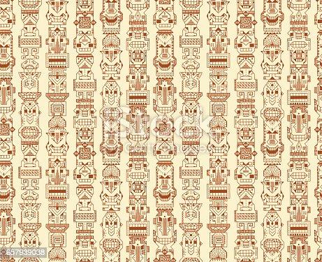 istock Vector Seamless pattern of Tribal Polynesian Tiki Masks. Hand Drawn Doodle Hawaiian Totem Idol Carved Religious Masks statue. Ethnic symbols background 657939038