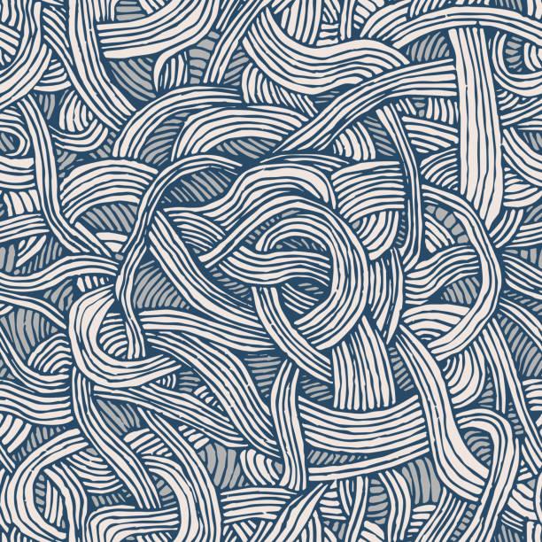 nahtlose vektormuster von verdrillten bänder oder spaghetti. handgezeichnete grafik. - pasta stock-grafiken, -clipart, -cartoons und -symbole