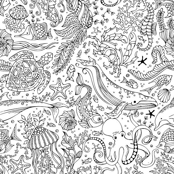 Vector seamless pattern of underwater wild animals and plants. vector art illustration