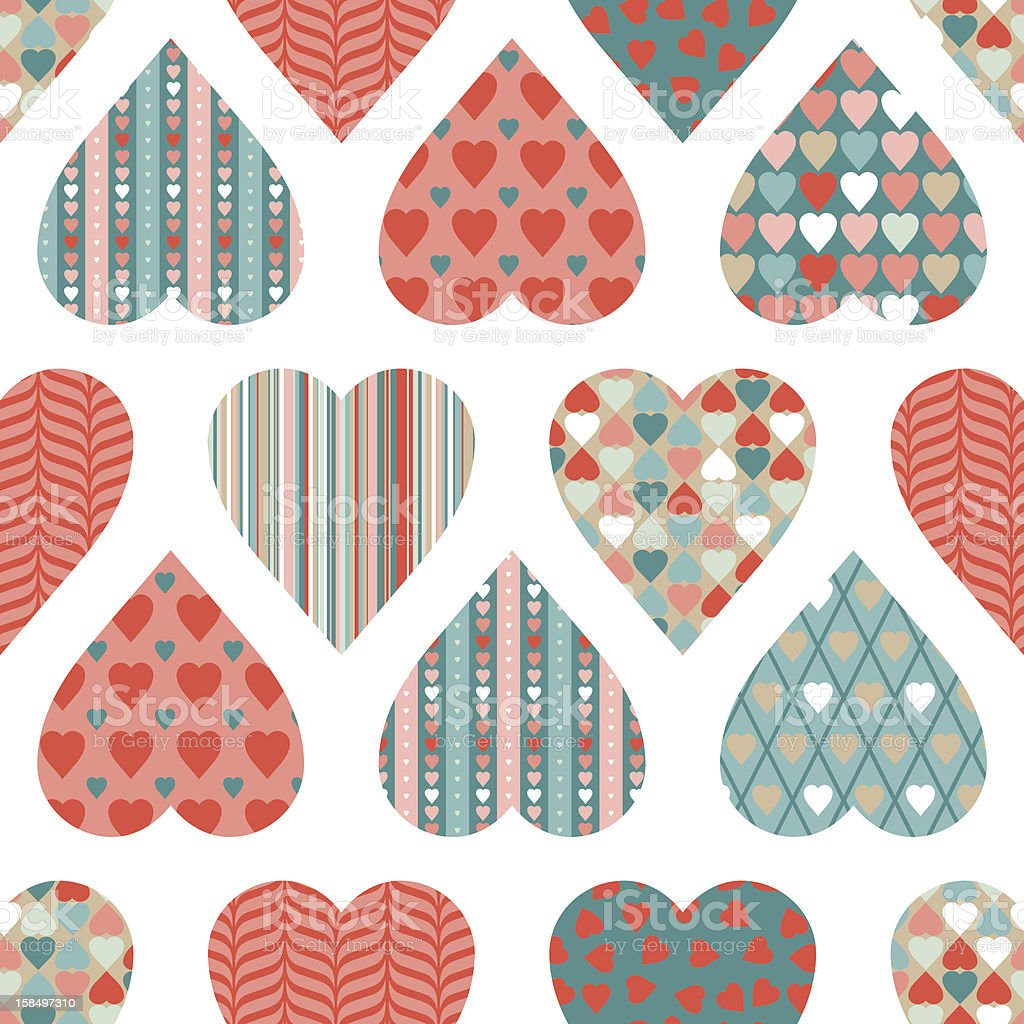 Vector seamless pattern of Valentine's Day in retro style. royalty-free vector seamless pattern of valentines day in retro style stock vector art & more images of backgrounds
