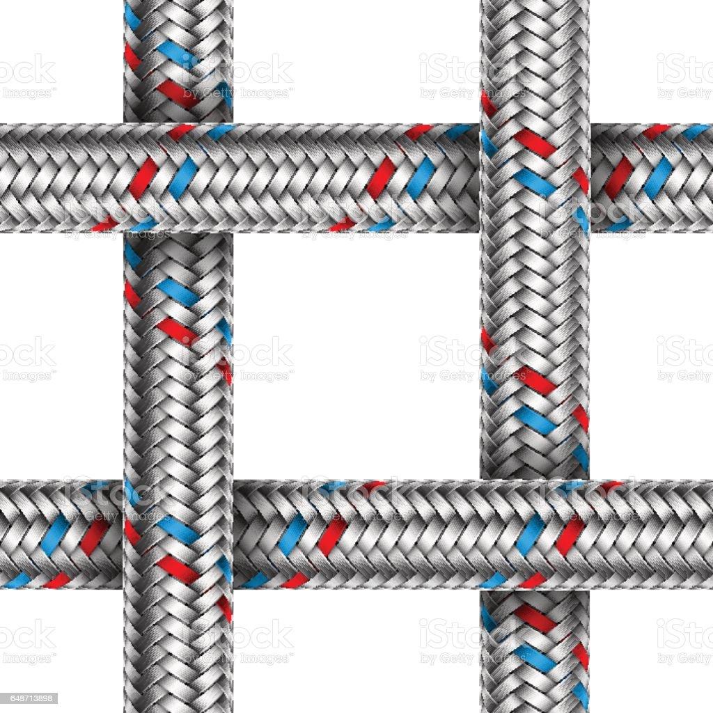 Vector seamless pattern of water braided metal hose vector art illustration
