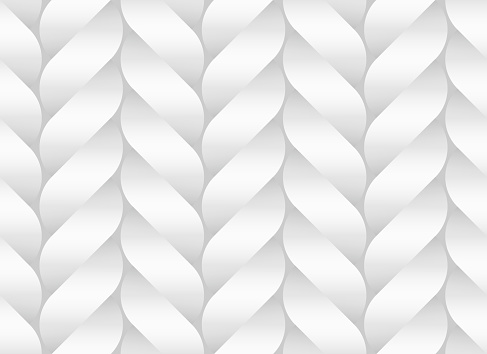 Vector seamless pattern of white braided paper bands stylized as pigtails. White decorative illustration.