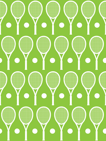 Vector seamless pattern of white tennis ball and racket silhouette