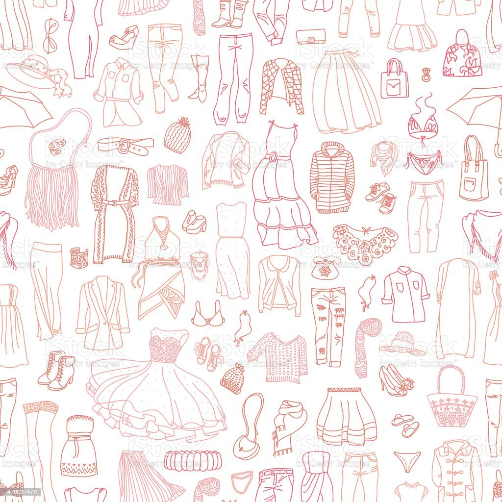Vector seamless pattern of women's clothes and accessories vector art illustration